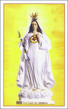 Card with an image of Our Lady of America