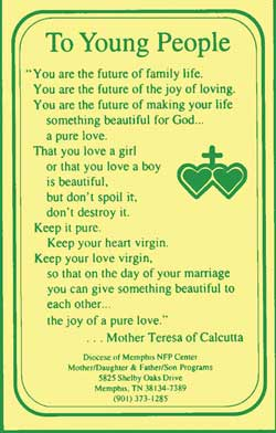 A teen abstinence card with a chastity quote from Mother Teresa.